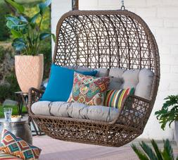 All Weather Wicker Loveseat Porch Swing With Cushion for out