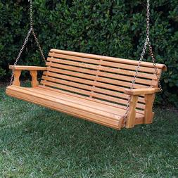 Amish Heavy Duty 800 Lb Roll Back Treated Porch Swing With H