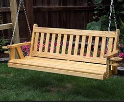Amish Heavy Duty 800 Lb Mission 5ft. Porch Swing With Cuphol
