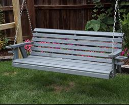 Amish Heavy Duty 800 Lb Roll Back 5ft Porch Swing With Cupho