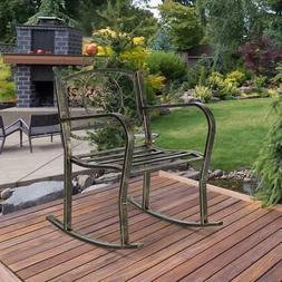 Antique Bronze Finish Metal Fleur-de-Lis Patio Rocking Chair