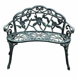 "40"" Antique Style Patio Porch Garden Bench Cast Aluminum Out"