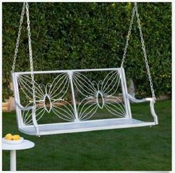 antique white metal porch swing 4 ft