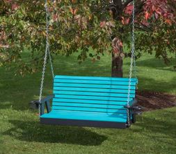 5FT-ARUBA BLUE-POLY LUMBER ROLL BACK Porch Swing with Cuphol