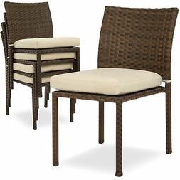 BCP Set of 4 Stackable Outdoor Patio Wicker Chairs w/ Cushio