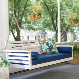 Beach Deep Seating Porch Swing Bed with Blue Cushion