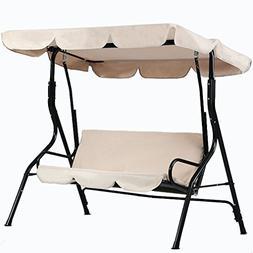 allgoodsdelight365 Beige Canopy Swing Glider Hammock Chair P