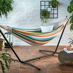 Ben and Jonah Blue/Green Stripe 9 ft. Single Hammock with Me