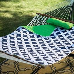 Ben and Jonah Cotton Rope Double Hammock with Metal Stand De