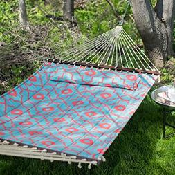 Ben and Jonah Quilted 2 Person Hammock - Coral/Spa Blue