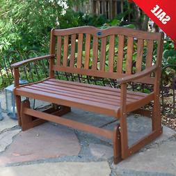 Outdoor Wood Glider Bench 2 Person Patio Porch Deck Sunroom