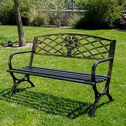 Outdoor Bench Patio Chair Metal Garden Furniture Deck Backya