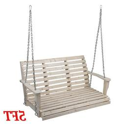 BEST 5FT Wooden Porch Bench Swing With Hanging Hardware Outd