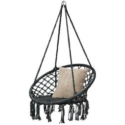 Best Choice Products Hanging Macrame Rope Swing Chair w/ Fri