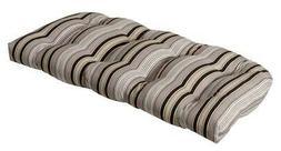 black beige stripe wicker loveseat