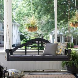 Black Eucalyptus Arched Back 2 Seat Hanging Porch Swing Outd