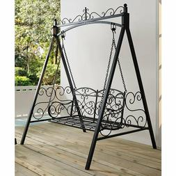 Black Metal 2-Seat Patio Swing Stand Set Outdoor Home Furnit
