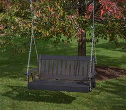 4FT-BLACK-POLY LUMBER Mission Porch Swing Heavy Duty EVERLAS