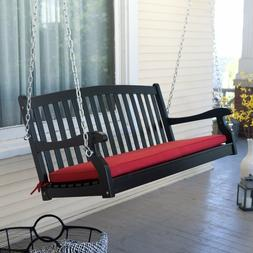 Black Slat Curved Back Hanging Loveseat Porch Swing Outdoor