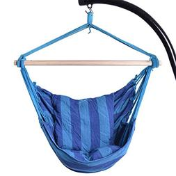 allgoodsdelight365 Blue Deluxe Hammock Rope Chair Patio Porc