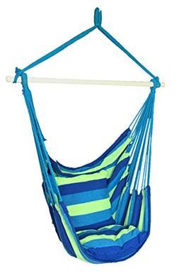 SueSport Blue Hanging Rope Hammock Chair Porch Swing Seat Sk