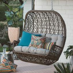 Brown 2 Person Resin Wicker Love Seat Hanging Porch Swing Ou