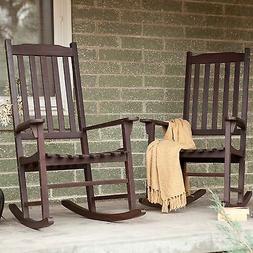 Brown 2 Piece Slat Patio Porch Rocking Chair Set Outdoor Ind