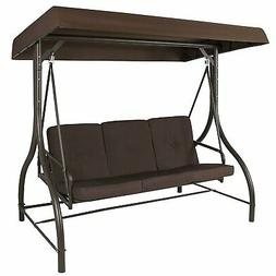 Brown 3-Person Outdoor Porch Swing with Canopy