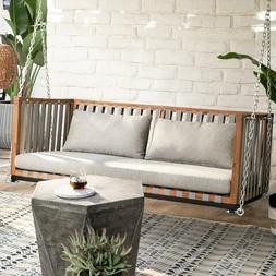 Brown Gray Acacia Wood Strap Back Hanging Porch Swing Outdoo