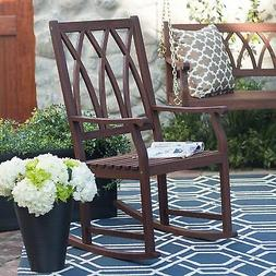 Brown Outdoor Patio Porch Curved X-Back Rocker Chair Home Li