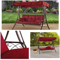 Mainstays Callimont Park 3-Seat Canopy Porch Swing Bed Red O