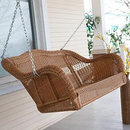 Coral Coast Casco Bay Resin Wicker Porch Swing, Walnut