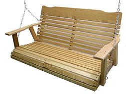 Kilmer Creek 4' Natural Cedar Porch Swing with Chain, Spring