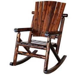 Leigh Country Char-log Porch Rocker Chair, Brown