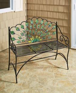 COLORFUL PEACOCK GARDEN BENCH Outdoor Seat Patio Porch Balco