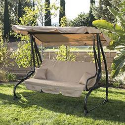 Belleze Converting Outdoor Swing Canopy Hammock Seats 3 Pati