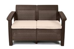 Keter Corfu Love Seat All Weather Outdoor Patio Garden Furni