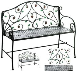 COUNTRY APPLE IRON GARDEN BENCH SEAT CHAIR *Hanging Apples &