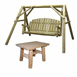 Lakeland Mills Country Cedar Outdoor Porch Swing and Stand S