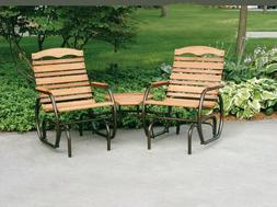 Jack Post Country Garden 2-Seat Outdoor Wood Glider w/ Table