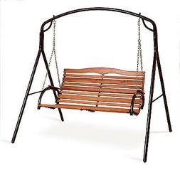 Country Garden Collection Patio Swing, Steel With Hardwood,