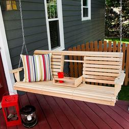 Porchgate Cupholder Console Cypress Porch Swing