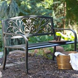 Curved Outdoor Bench with Heart Pattern Garden Porch Outdoor