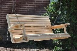 4 Ft Cypress Porch Swing with Unique Adjustable Seating Angl