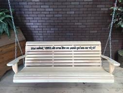 Cypress Wood Porch Swing With Hanging Hardware with engravin