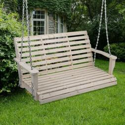 Cypress Wood Wooden Porch Bench Swing WITH HANGING HARDWARE