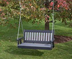 4FT-DARK GRAY-POLY LUMBER Mission Porch Swing Heavy Duty EVE