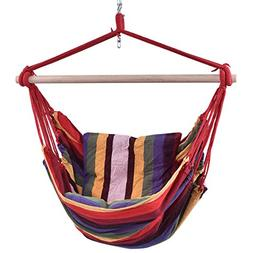 allgoodsdelight365 Red Deluxe Hammock Rope Chair Patio Porch