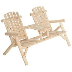 Double Cedar Log Adirondack Chair with Table, # SS-CSN-150