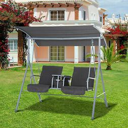 Outsunny Double Outdoor Covered Porch Swing Stand with Cente